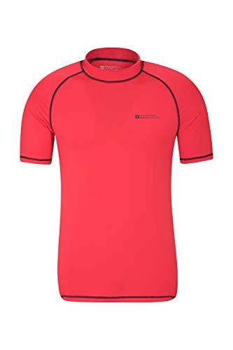 Mountain Warehouse UV-Badeshirt für Herren - Schwimmshirt mit UPF50+, schnelltrocknend, Flache Nähte UV Shirt - Ideal für Schwimmen und Tragen unter einem Schwimmanzug Rot Large