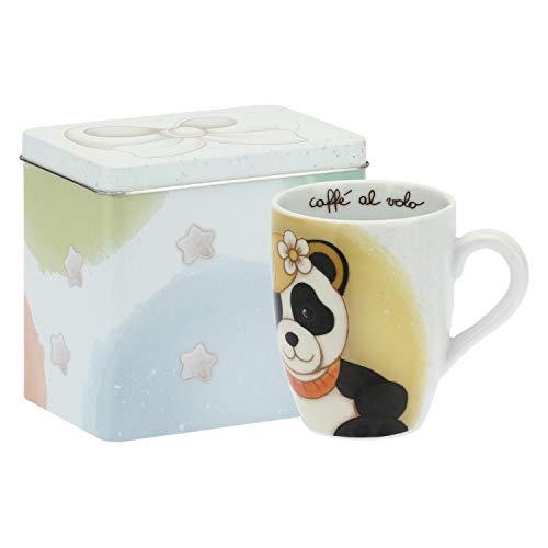 THUN ® - Mug Panda Virgo con Scatola in Latta per tè, caffè, tisana - Porcellana - 300 ml - Ø 8,5 cm