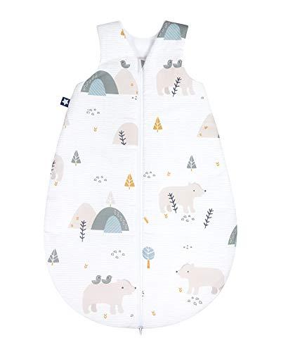 Julius Zöllner 9160710090 Baby Ganzjahresschlafsack aus 100% Baumwolle, Größe 70, 6-12 Monate, Standard 100 by OEKO-TEX, Mountain Bear, weiß, 300 g