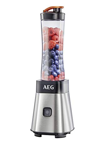 AEG MiniMixer SB 2400 Standmixer (0,4 PS-Power-Motor, 23.000 U/Min, spülmaschinen- und bruchfeste 600 ml Tritan-Flasche mit Trinkverschluss, 4-Klingen Messer, Pulse-Taste, gebürstetes Edelstahl)