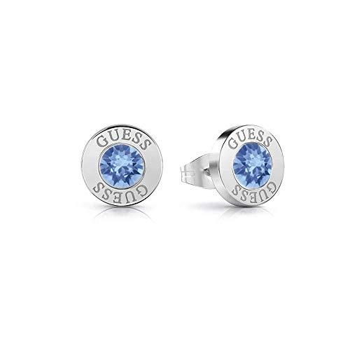 Pendientes Guess Shiny Crystals azul acero inoxidable quirúrgico chapados rodio UBE78097 [AC1150]