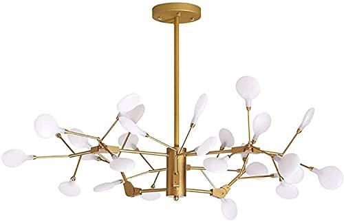 RSQJ Chandelier de luciérnaga moderna, personalidad creativa nórdica DIRIGIÓ Luz de techo, ramas de árbol de oro Luz colgante, adecuado para dormitorio, restaurante, balcón, sala de estar -27 luces-do