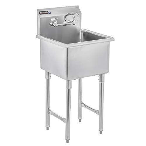 "DuraSteel Utility & Prep Sink - 1 Compartment Stainless Steel NSF Certified Easily Install - 18"" X 18"" Tub Size with 8"" Swivel Spout No Lead Faucet (Commercial, Food, Kitchen, Laundry, Backyard)"