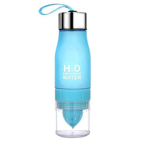 Sunsline Trinkflaschen 650ml H2O Lemon Juice Water Bottle Infuser Drinkware Squeezer Cup for Outdoor (Blau)