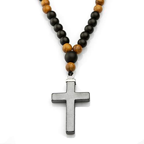 Collar para Hombre con Cruz de HEMATITA,vaticana Rosario para IR a la Playa Collar con Piedra de Hematita energética