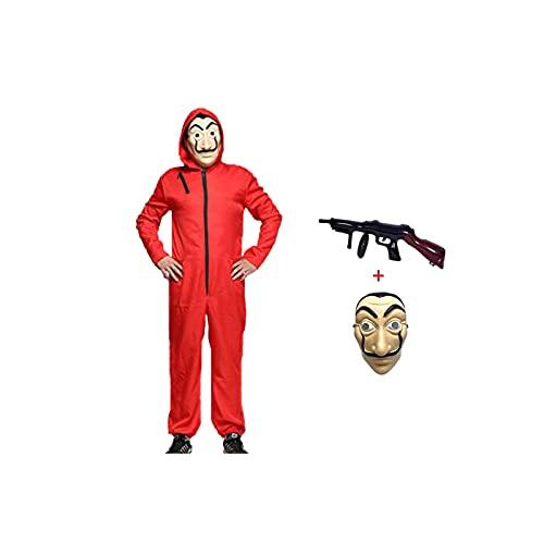 HONGXUNJIE Halloween Mono de Ladrón de Banco para Carnaval,Disfraz de Ladrón Mono Rojo de Manga Larga con Capucha,Disfraz de Carnival (Adult-M-170-175)