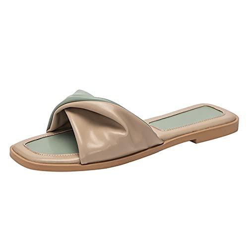 HAQMG Sandalias de cuero para mujer planas con puntera cuadrada y puntera abierta con soporte de arco para playa, diseño ergonómico, zapatos de mujer de moda negro (color: verde, tamaño: EUR 39)