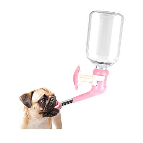 Andiker ペットドリップボトル犬ウォーターノズル給水器 自動式取り付け 使いやすい漏れない水飲み器 犬ウォーターノズル 水漏れ防止機能付き 取り付け 簡単 便利 軽量 ハンギング ボトル (ピンク)