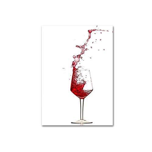 SDFSD Moderne HD Aber erste Wein Rotwein Champagner Leinwand Druck Gemälde Küche Poster POP Wandkunst Bilder für Wohnzimmer Home Decor 60 * 80cm