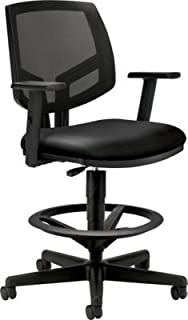 HON HON5715ASB11 Volt Mesh Back Task Stool   Extended Height, Footring   Adjustable Arms   Black SofThread Leather