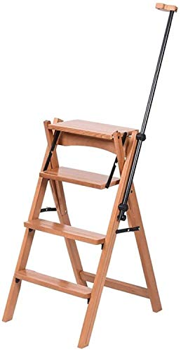 SQQSLZY De Madera Maciza de Cuatro Pisos de Escalera Silla Plegable del Taburete multifunción Baranda de Escalera Plegable fácil acomodar Escalera Soporte de Espiga de Escalera Flor