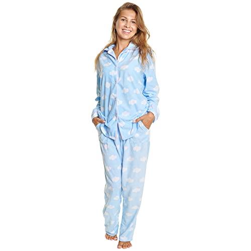 Angelina Women's Cozy Fleece | Blue Sky Clouds Pajamas For Women | Cute Patterns | Pajama Set with Pockets PJ56_4XL