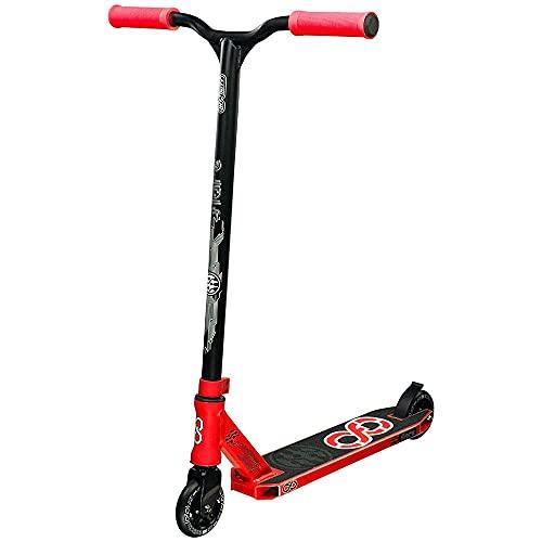 Infinity Scooters Patinete Freestyle para Adultos y Niños a Partir de 8 años - Patinete de Trucos y Saltos con Rodamientos ABEC-9 Ruedas 100mm de PU con Barra 360 Grados (Flare Rojo)