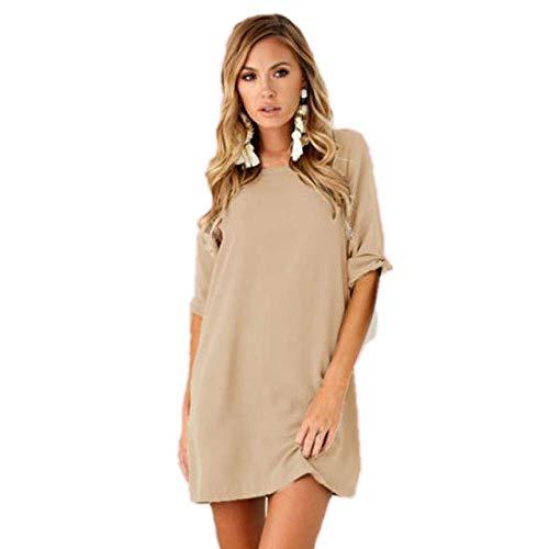 Vestido de Mujer deManga Corta O-Cuello Casual Vestido Suelto Vestido de Color Liso Vestidos de Playa