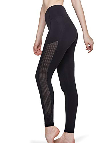 TSLA Yoga Pants Leggings Running Tummy Control Non See-Through Workout Pocket, Side Mesh(fgp71) - Black, Large [Size 10-12_Hip41-43 Inch]
