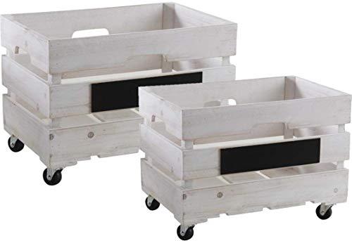 Série de 2 caisses en bois à roulettes
