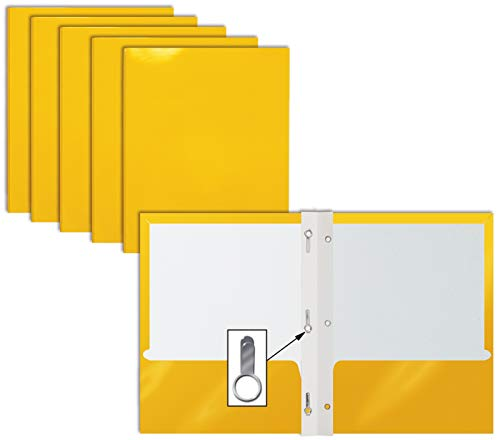 2 Pocket Glossy Yellow Paper Folders with Prongs, 25 Pack, by Better Office Products, Letter Size, High Gloss Yellow Paper Portfolios with 3 Metal Prong Fasteners, Box of 25 Glossy Yellow Folders