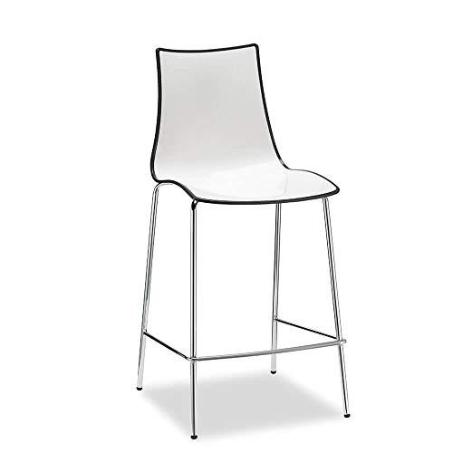 Scab Set 2 Design Zebra Bicolore Tabouret h. 65 cm Gris Anthracite-Blanc
