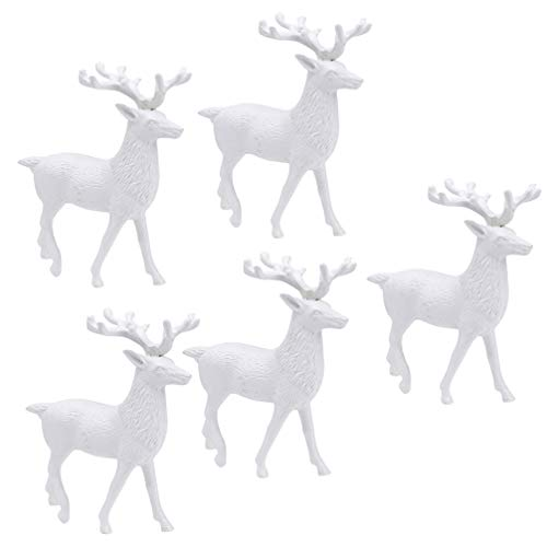 Amosfun 5Pcs Christmas Deer Figurines Mini Reindeer Statue Miniature Ornaments Table Decoration Cake Topper for Holiday Christmas Party Fairy Garden Dashboard