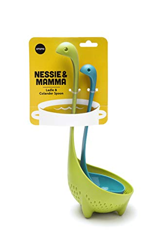 OTOTO Turquoise Nessie Ladle & Green Mama Nessie Colander Value Pack- Special Edition Soup Ladle & Colander Set- Ladles for Cooking - Kitchen Colander for Pasta- Dishwasher Safe & BPA free Ladle