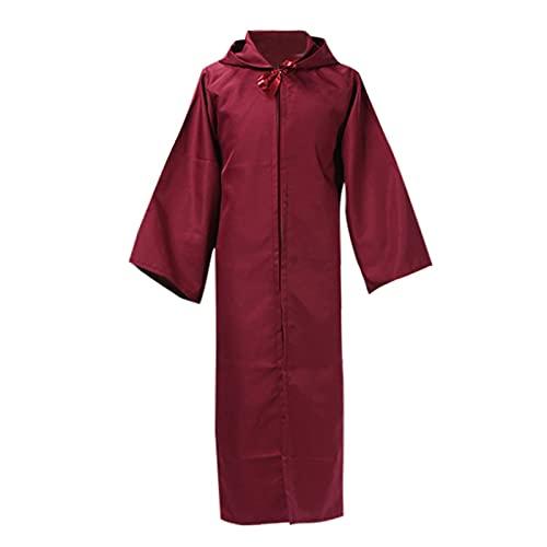 Xisimei Capa de mujer con capucha, abrigo medieval, de satén, largo, disfraz de vampiro, para boda, novia, vestido de noche, vestido de novia, mujer, hombre, disfraz de mago, rojo, S