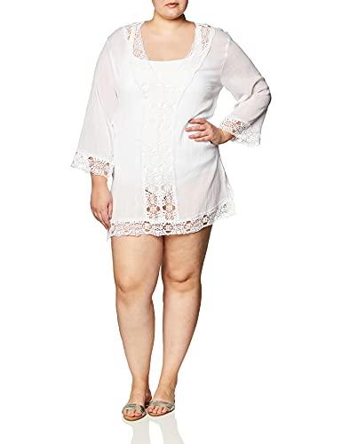 La Blanca Women's Plus Size Lace V-Neck Tunic Dress, White/Island Fare Print, 2X
