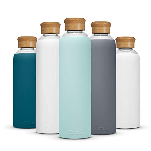 Doli Bottles Glasflasche 1 Liter 500ml I für Kohlensäure und spülmaschinengeeignet I 100% bpa-frei I Trinkflasche Glas 1l mit Schutzhülle und Schraubverschluss I Wasserflasche 1l (Mint, 1l)