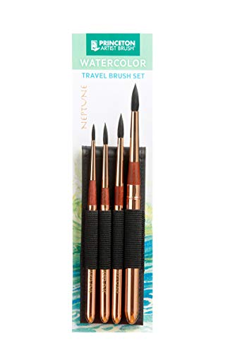 Princeton Neptune Series Synthetic Squirrel Watercolor 4 Paint Brush Set