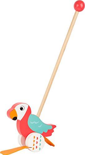 """small foot 10475 Schiebetier Papagei \""""Lori\"""" aus Holz, hilft beim Laufenlernen und watschelt, ohne Altersbeschränkung"""