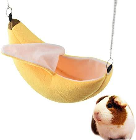 XHCP Haustier-Bett-Haus Banana Design-Cage Hug Kleintiere Schlafen Nest Hamster Cotton Hanging Winter-Golden Bear Eichhörnchen Warm