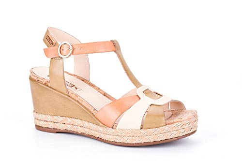 Pikolinos Keil Sandalette Mojacar W7R-5802 Schuhe Damen Plateau Sandalen, Größe:39 EU, Farbe:Beige