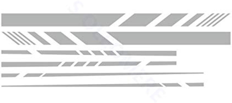 Racing Sport Stripes Car Styling Door Side Decor Stickers Auto Body Decal 280cm x 16cm A Pair Whole Sedan Hatchback  (color Name  Silver, Size  280cm x 16cm x 2 pcs)