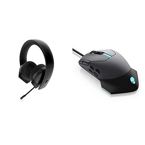 Alienware Stereo PC Gaming Headset AW310H: 50mm Hi-Res Drivers & Switch via 3.5mm Jack & Gaming Mouse 510M RGB Gaming Mouse AW510M: 16, 000 DPI Optical Sensor - Alienfx RGB
