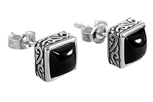 WHFY Pendientes de glamour de moda Pendientes de botón de circonita cúbica Pendientes de botón de plata esterlina 925 Pendientes de botón de ágata negra Moda Retro Hombres y mujeres Pendient