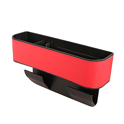 titivate Caja de almacenamiento para asiento de coche con carga USB, caja de almacenamiento para el coche, organizador para monedero y llaves (rojo 2016)