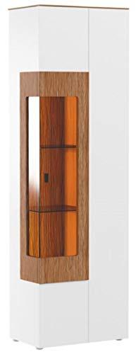 Casa Padrino Eckvitrine Weiß/Braun 65,4 x 40 x H. 202 cm - Moderner Beleuteter Massivholz Vitrinenschrank - Wohnzimmer Schrank - Wohnzimmer Möbel