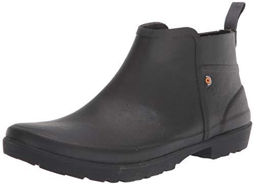 BOGS Women's Flora Bootie Waterproof Low Garden Rain Boot, Black, 7 M US