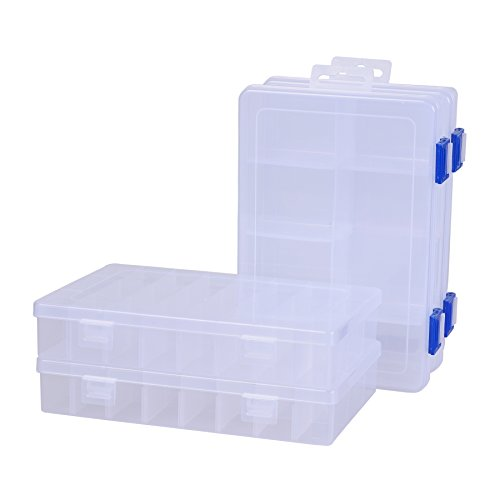 ECROCY Pack of 4 Plastic Storage Box with Adjustable Dividers for Beads, Jewelry,Tools and Fishing Lures(2pc Organizer Box with 24 Grids & 2pcs Box with 8 Grids)