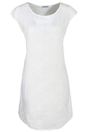 PEKIVESSA Damen Leinenkleid Stickerei Sommerkleid Kurzarm Weiß 44 (Herstellergröße XXL)