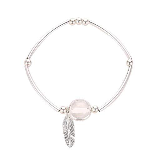 MAJFK Pulsera pequeña con forma de hoja de cristal y piedra natural para mujer, sencilla, estilo vintage, retro, exquisita pulsera salvaje, regalo de joyería