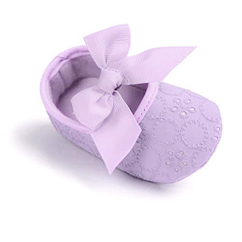 Baby Girls Princess Bowknot Soft Sole Cloth Crib Shoes Sneaker Purple, 3-6 Months