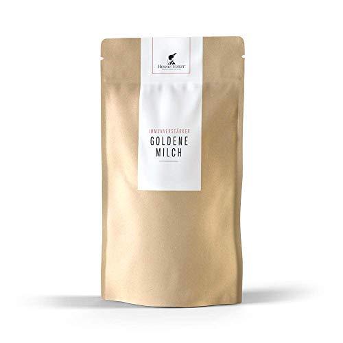 Hennes Finest Goldene Milch Pulver (Kurkuma Extrakt & Piperin) - Kurkuma Pulver mit weiteren Gewürzen zur Herstellung von Kurkuma Latte (Golden Milk), Curcuma Extrakt Latte Pulver