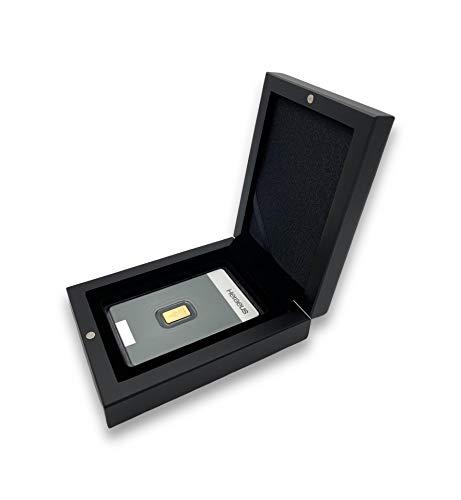 Goldbarren 1g Heraeus im edlen Geschenk-Etui mit Grußkarte - Schwarz - Feingold 999,9 (1g Gold)