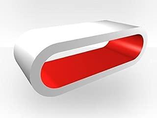 Zespoke White Outer Large Hoop Tv Stand - Red Gloss Inner