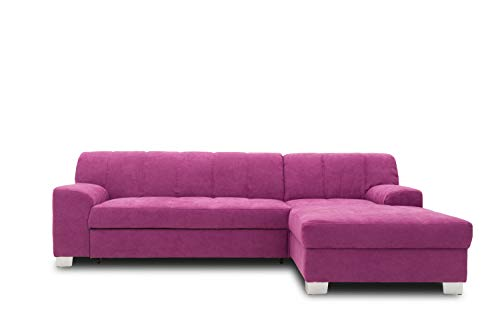 DOMO collection Capri Ecksofa   Eckcouch in L-Form mit Schlaffunktion, Polsterecke Schlafsofa, lila, 239x152x75 cm