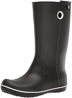 Crocs Women's Crocband Jaunt Rain Boot | Waterproof Rain Boot| Easy On Ankle Boot, Black, 8 M US