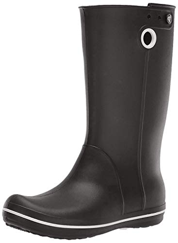 Crocs Women's Crocband Jaunt Rain Boot | Waterproof Rain Boot| Easy On Ankle Boot, Black, 8 M US