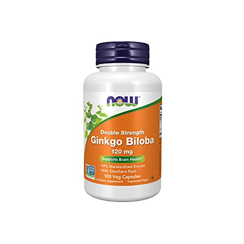 NOW Supplements, Ginkgo Biloba 120 mg, Double Strength, Non-GMO Project Verified, 100 Veg Capsules