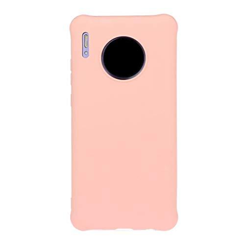 Qsdd Reemplazo para Huawei Mate 30 Funda Ultra Thin Anti Scratch Carcasa de Telefono Soft TPU Silicone Anti-Huella Digital Anticaída a Prueba de Golpes Caso-Rosado