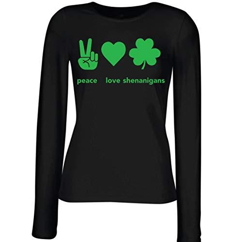 lepni.me Camisetas de Manga Larga para Mujer Paz y Amor Shenanigans Regalo para la Fiesta del Día de San Patricio en Irlanda (XXL Negro Multicolor)